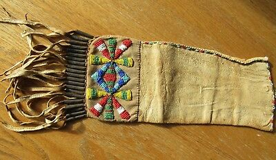 ANTIQUE ORIGINAL 1880 - 1920's NATIVE AMERICAN INDIAN BEADED TOBACCO POUCH