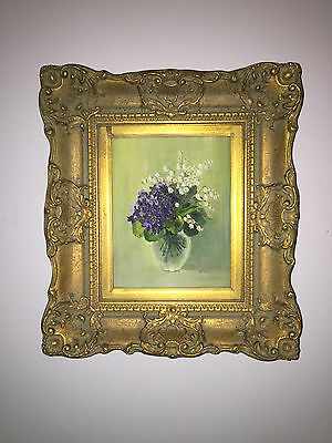 Antique signed Oil on Canvas Bouquet of Spring Flowers~Fabulous Gilt Frame