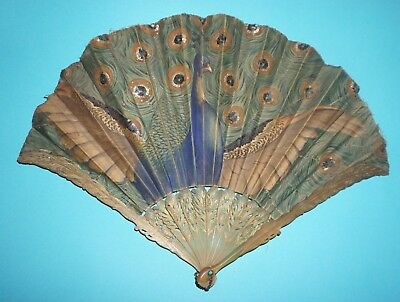 Rare Antique French Carved Horn George Bastard Thomasse Art Nouveau Peacock Fan