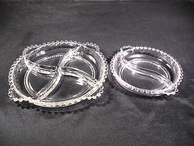 Imperial Glass Ohio Candlewick Divided  Plates (1) 4 Part (1) 2 Part Group of 2