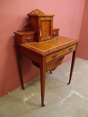 "SMALL ANTIQUE FINELY INLAID ROSEWOOD LADIES DESK WRITING TABLE ""BONHEUR du JOUR"""