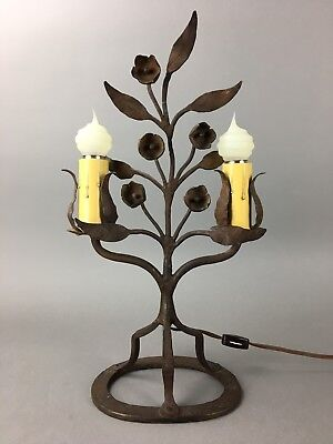 Antique French Wrought Iron Floral Candelabra Table Lamp