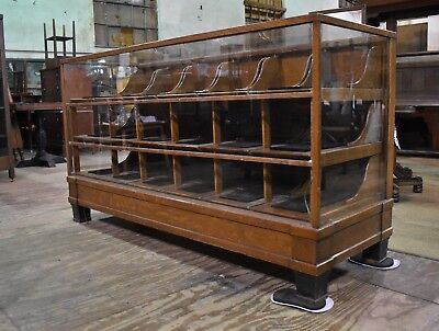 Antique Quarter Sawn Oak and Glass Habedashery Display Case Cabinet