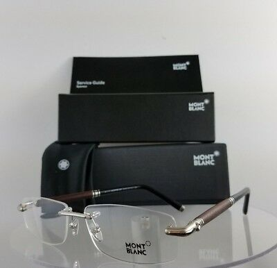 New Authentic MONT Blanc MB 491 016 Eyeglasses Silver Wood MB491 Frame