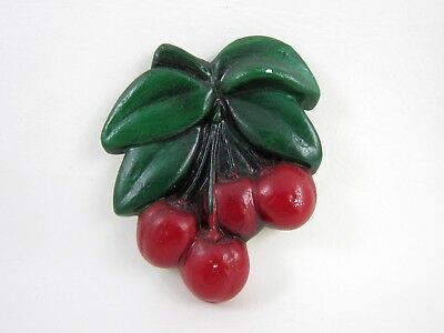 Vintage CHALKWARE Cherry Fruit Kitchen Wall Decor - Very Nice
