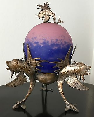 Antique Art Nouveau Flying Fish Table Lamp Original Glass Shade, fishy finial...