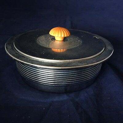 Chase Covered Butter Dish Chrome & Butterscotch Bakelite Art Deco 1930's