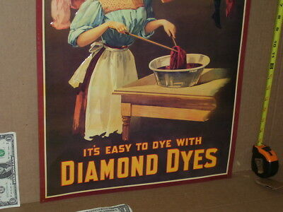 DIAMOND DYE CABINET - TIN Door SIGN - Shows a Pretty Young Wife doing a Hard Job
