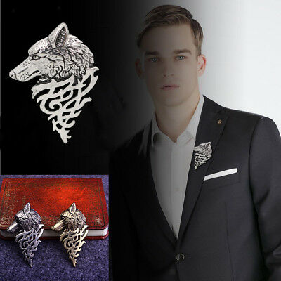 2Pcs Chic Metal Wolf Head Coyote Brooch Lapel Pin Badge for Men's Shirt Suit
