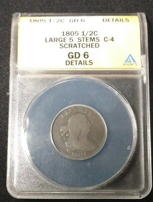 1805 US Draped Bust Half Cent ANACS Large 5 Stems C-4 Scr G-6 Details