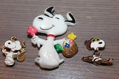 3 Snoopy Pins Peanuts Skiing Flowers