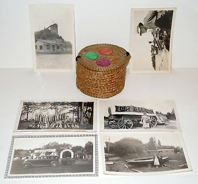 1920s-40's Great Lakes Indian Porcupine Quill Birch Bark Basket & Fishing Photos