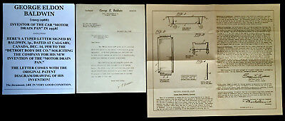 "INVENTOR OF CAR ""MOTOR DRAIN PAN"" IN 1938 LETTER SIGNED w/PATENT DRAWING 1938 VF"