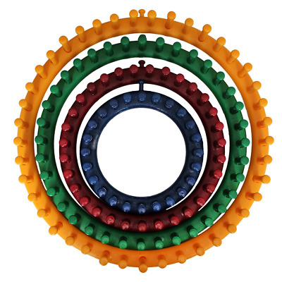 """4 Pc Set Strong Plastic Circular Knitting Looms 4 Sizes Included 14cm (5.5""""), 19"""
