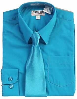 Boys Dress Shirt Long Sleeve Children Toddler Kids Tie Solid Blue Button Down