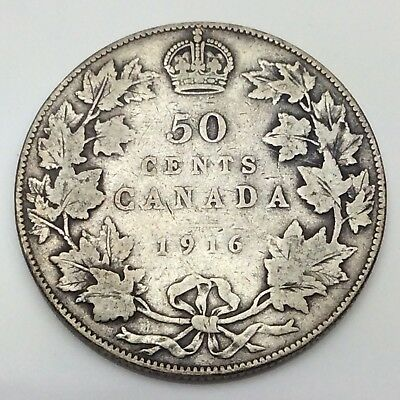 1916 Canada Fifty 50 Cents 925 Sterling Silver Circulated Canadian Coin D215