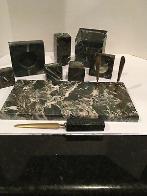 Vintage Desk Set Marble Antique 9 pcs Unique Beautiful - weighs 12 lbs!