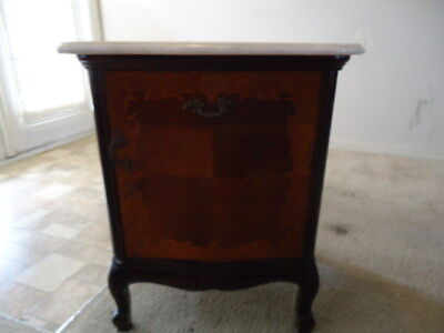 Single French Marble Top Satinwood Inlaid Night Stand Table Nightstand