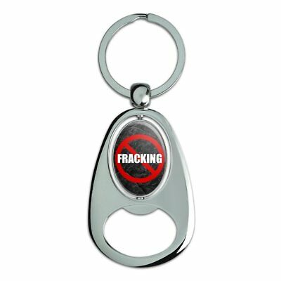 No Fracking Chrome Plated Metal Spinning Oval Design Bottle Opener Keychain
