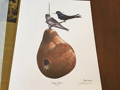 Ray Harm ( Purple Martin ) autographed lithograph print Frame House Gallery