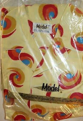 Model Vintage Flannel Pajamas Boys 14 New Old Stock Package Yellow MCM Swirl