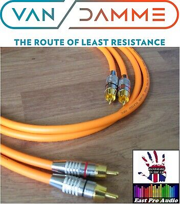 0.5m Pair - Van Damme RCA Phono Cables - Pro Grade Silver Plated Pure OFC Orange