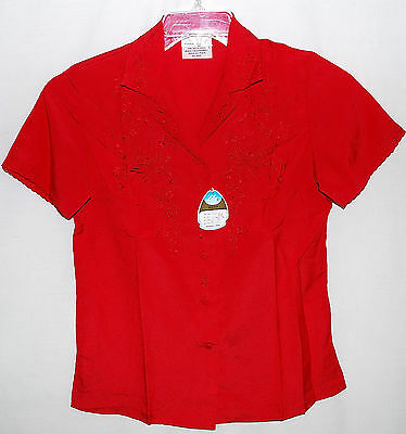 Vintage Lily Red Hand Embroidered Short Sleeve Blouse Made In Shanghai Sz S NWT