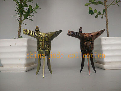 PAIR Antique Bronze Chinese Three Legs Wine Jue Cups Red Or Yellow Crafts