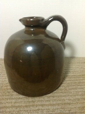 "Stoneware Molasses Syrup Jug; Dk Brown Shiny Glaze; 8"" Tall; Unmarked"