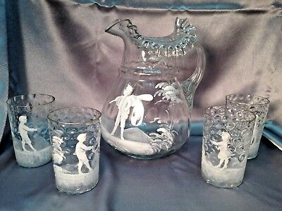 Antique Victorian Enameled Mary Gregory Art Glass Coin Dot Pitcher w/ Glasses