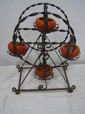 "Rare Vintage Wrought Iron Ferris Wheel Planter w/ Clay Pots 16"" Tall x 7-1/2"" W"