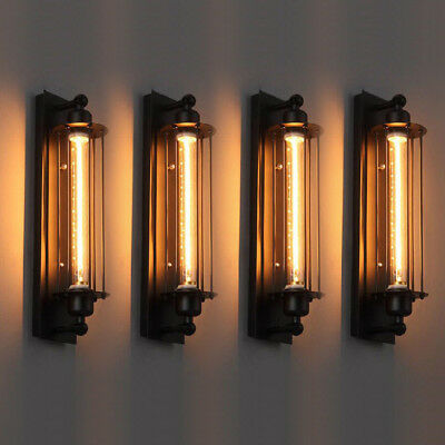4pcs Vintage Industrial Iron Wall Lamp Sconce Light Porch Fixture Flute Cafe Bar