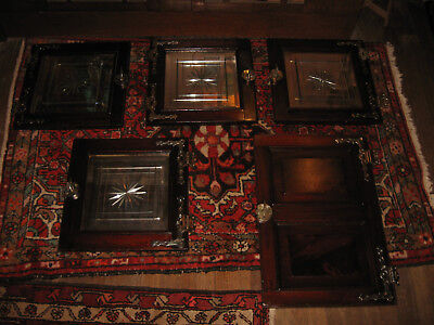 RARE 5 FIVE ANTIQUE MIRRORED GLASS CABINET DOORS 1800s ICE BOX SALVAGE BOOKCASE