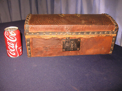 Antique 1822 Document Box Lock w Key Leather Wood Brass Studs Orig Leather Early