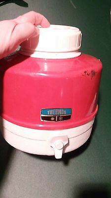 Vintage Thermos Deluxe Model Picnic Jug Red Metal White Plastic Handled Camping