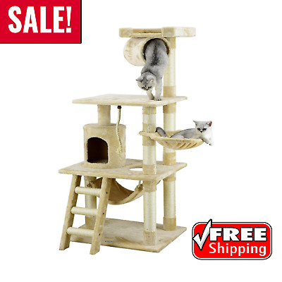 "New Go Pet Club 62"" Cat House Tree Condo Furniture Beige Color Kitten Scratching"