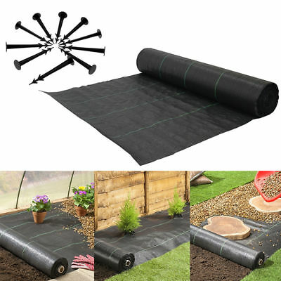 100gsm Weed Control Fabric Ground Cover Garden Membrane Mulch Securing Pegs UK