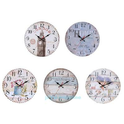 30cm Vintage Rustic Wooden Wall Clock Antique Shabby Chic Retro Home Room Decor