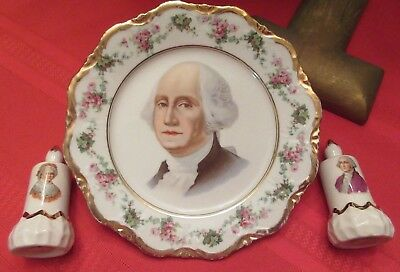 Ca1930s Antique George Washington Portrait Plate + Pair of Salt & Pepper Shakers