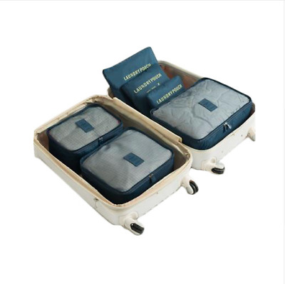 Travel Bag Packing Cubes Luggage Organiser 6 Piece System Backpacking Suitcase