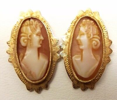 Vtg 14K Gold Carved Shell Cameo Stud Earrings Victorian Woman Antique Estate