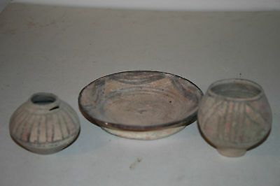 3 Ancient Indus Valley Pottery Cup/plate 2800 1800 Bc Harappan