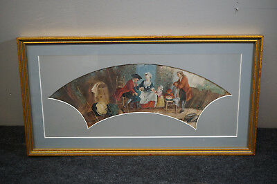 "Antique Hand Painted Fan Framed 16"" x 8""  Great Wall Art"