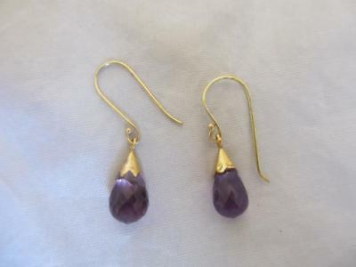 antique victorian PAIR OF 9CT YELLOW GOLD PENDANT FACETED AMETHYST EARRINGS J581