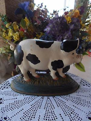 """vintage PIG CAST IRON DOORSTOP hand painted country farmhouse 12.5"""" x 8.5"""" tall"""
