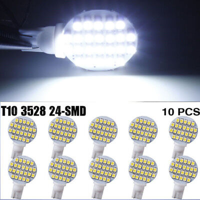 10pcs T10 24 SMD 1210 LED Dome Reading Trailer RV Landscaping Light 6000-8000K
