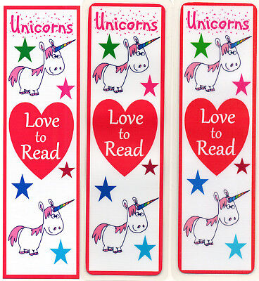 3 CHILDRENS BOOKMARKS,UNICORNS LOVE TO READ.18cm x5cm laminated