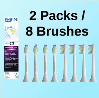 2pk x 4 Diamond Clean Philips Sonicare Toothbrushes Replacement Brush Refills