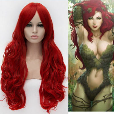 BATMAN Poison Ivy Cosplay Wigs Long Wavy Curly Red Women Girl Cos Hair Wig YY09