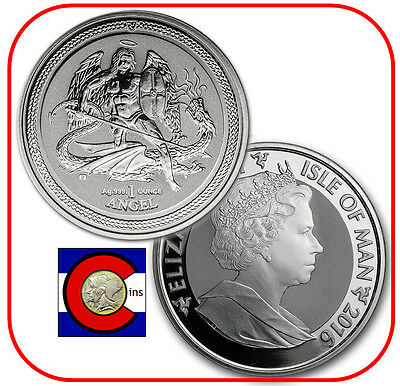 2016 Isle of Man Reverse Proof Angel 1 oz. Silver Coin - BU in Mint airtite